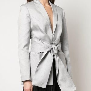 Acler Gray Linen Blend Tie Front Jacket